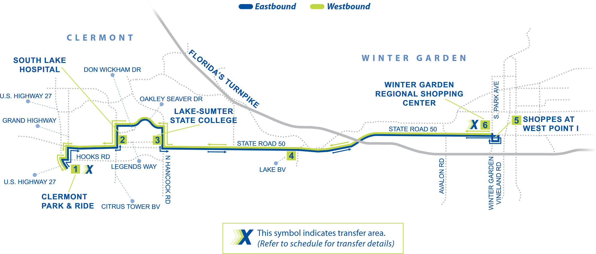 Route 50 East Map